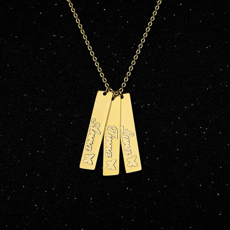 Personalized Name Necklace Silver Gold Chain Stainless Steel Customized Nameplate Engraved Butterfly Custom Jewelry Gift Ketting