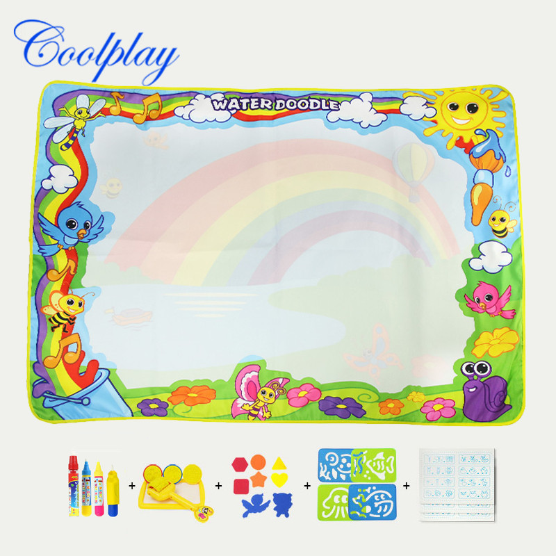 120*90 Cm Children Magic Water Canvas Water Environmentally Friendly Paint Doing Homework Blanket Toy Rainbow-with Accessories B