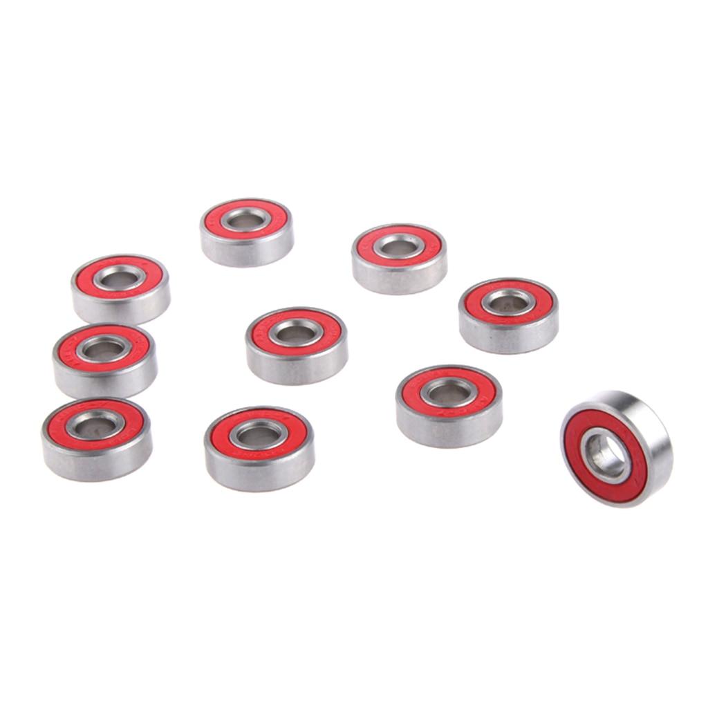 10pcs Red ABEC-7 Rolling Skateboard Bearings Stainless Steel Roller Skate Scooter Wheel Longboard Bearings Accessories Drpship