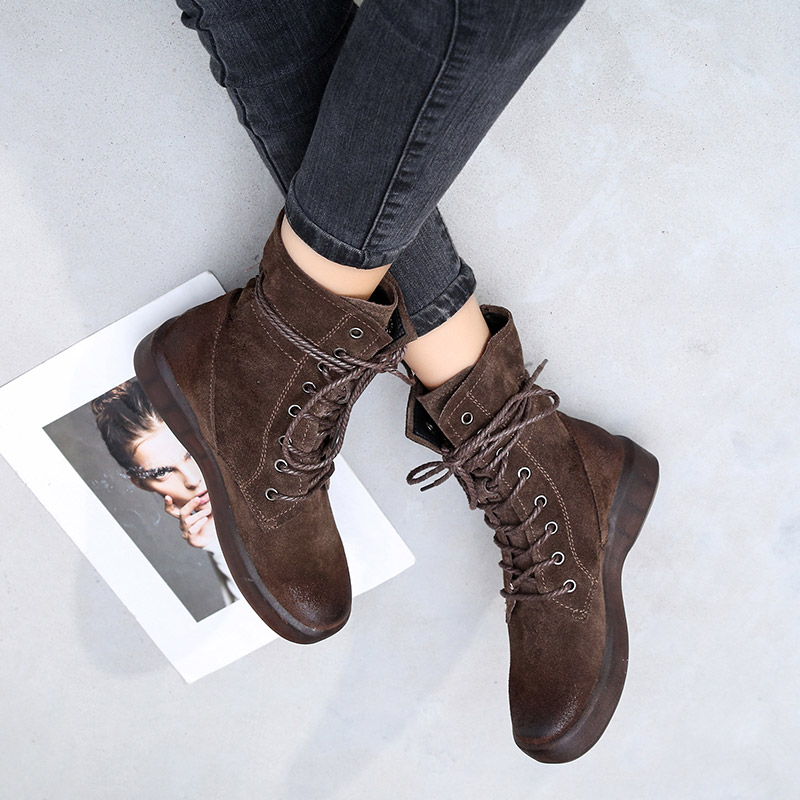 Women Boots Winter Warm Shoes Genuine Leather Black Ankle Boots Flat Heel Women Lace Up Casual Martin Boots Size43 Leather Shoe