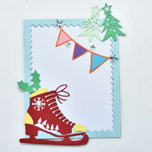 Naifumodo Skate Dies Christmas Tree Metal Cutting Scrapbooking for Card Making DIY Embossing Cuts Craft Letter