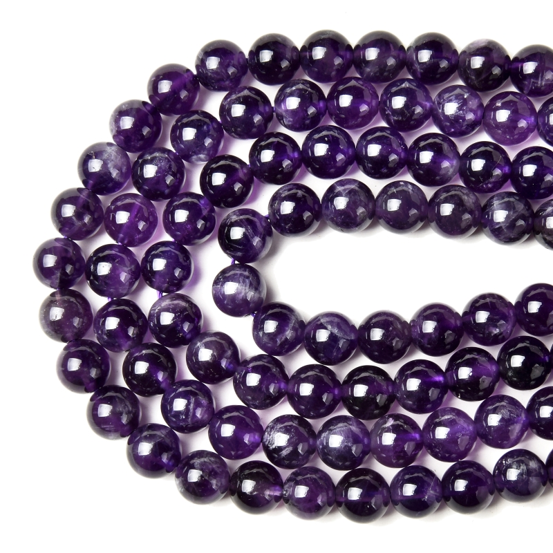 Natural Purple Amethyst Round Bead Wholesale 4/6/8/10 / 12mm About 15 Inches In Length For Jewelry Design DIY Making