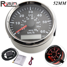 Universal 85mm Marine Boat GPS speedometer 60 km/h Speed Gauge With red Backlight For