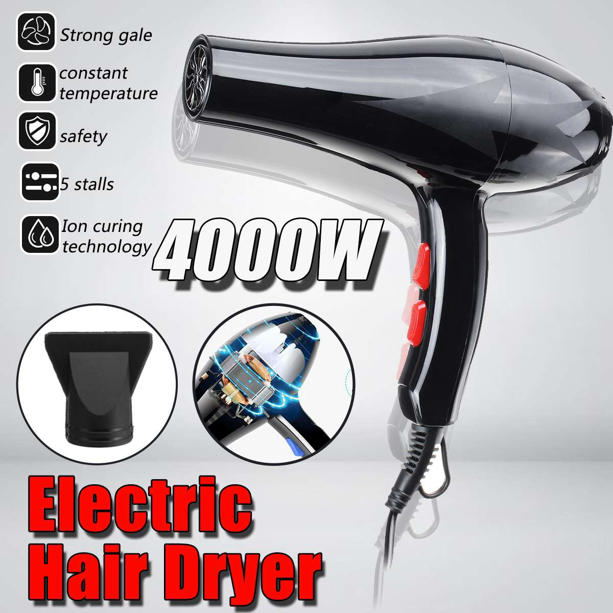AUGIENB 220v 4000W Professional Hair Dryer Hot Cold Ionic Blow Dryer Fast Heating Household Hairdryer For Hairdressing Salon