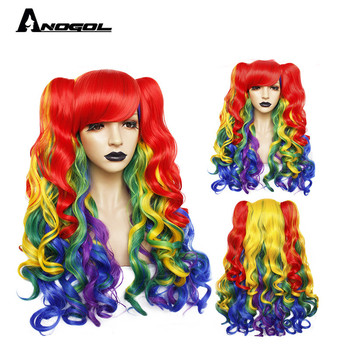ANOGOL Lolita Rainbow Wig High temperature fiber Pigtail 6ix9ine  My Little Pony Synthetic Cosplay Wigs For Girls Halloween long side bang straight my little pony lily cosplay wig