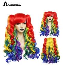 ANOGOL لوليتا قوس قزح شعر مستعار ارتفاع درجة الحرارة سلك توصيل من الألياف 6ix9ine بلدي ليتل المهر الاصطناعية تأثيري الباروكات للفتيات هالوين