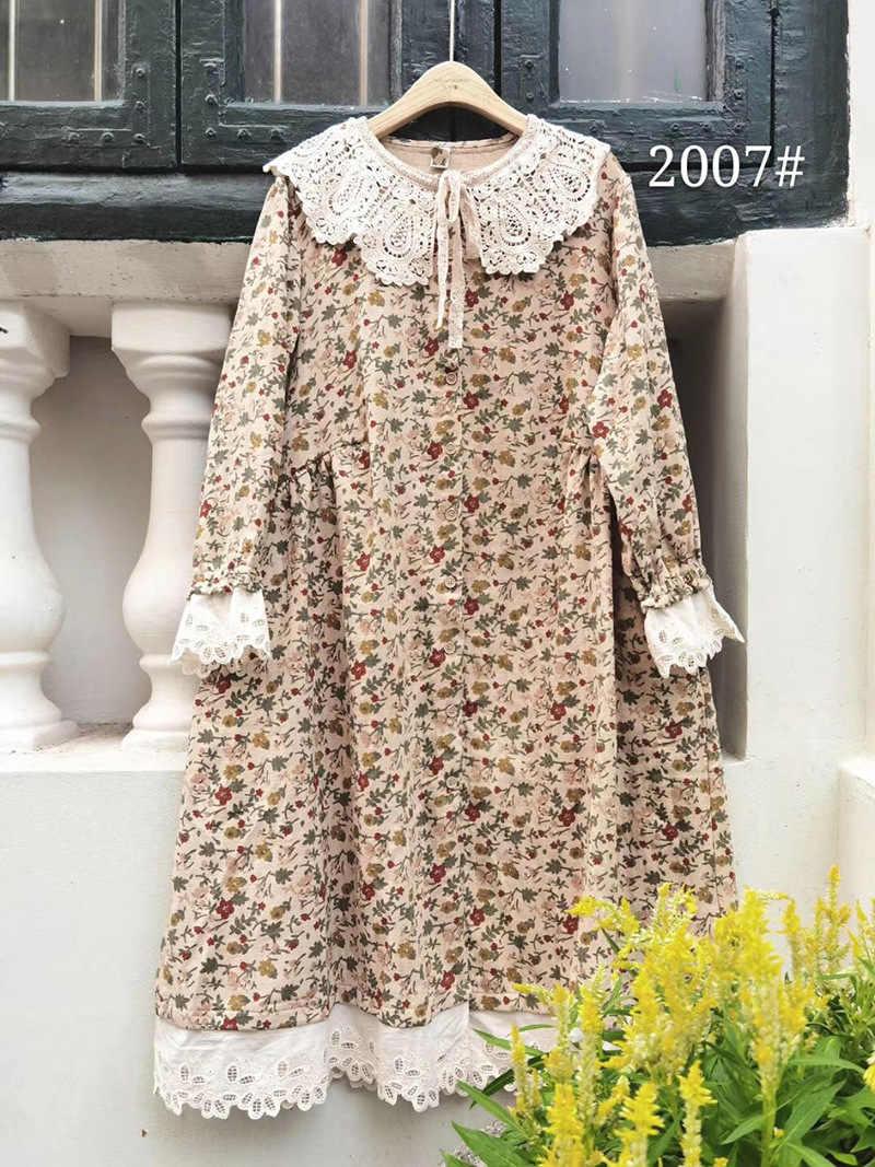 5 herbst und winter kleider neue temperament trend elegante und schöne  reine street floral kleid baumwolle leinen Japan und Südkorea