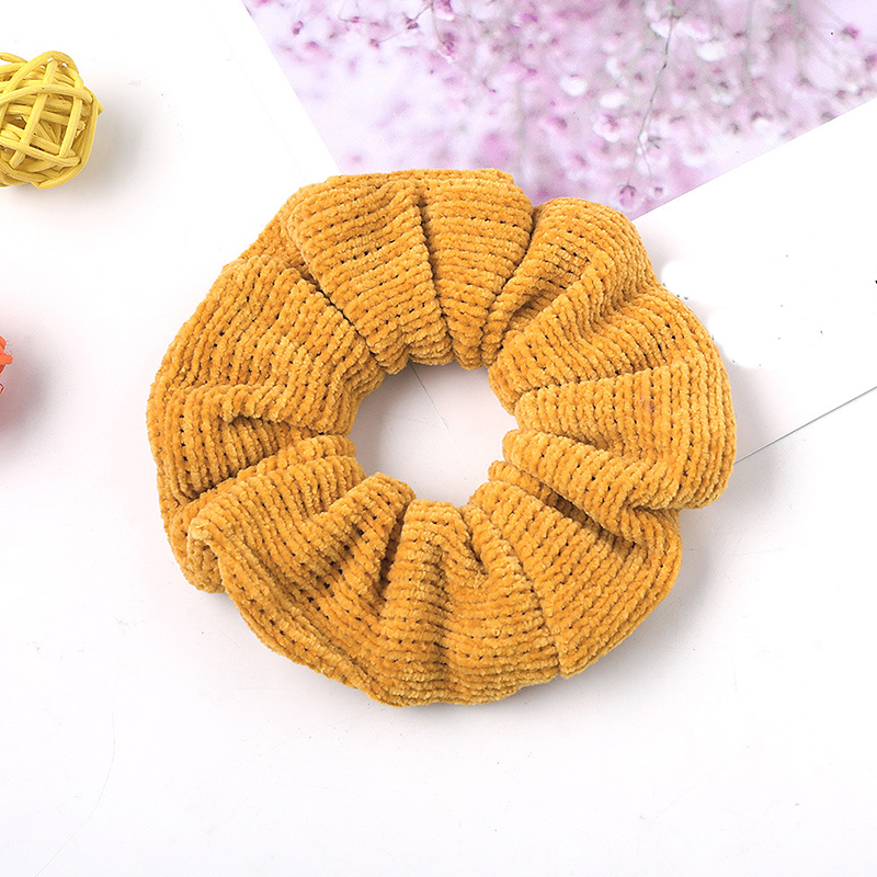 Autumn Winter Solid Color Knitted Striped Scrunchie Women Corduroy Hair Rope Ponytail Holder Elastic Hair Bands Hair Accessories