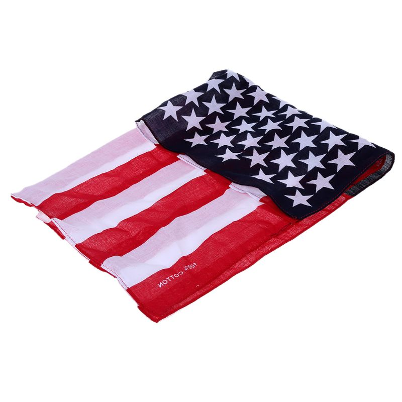 Unisex 1pcs American Flag Cotton Scarf New Fashion Unisex US Flag Scarves Bandanas Hip-hop Dance Travel Head Scarf
