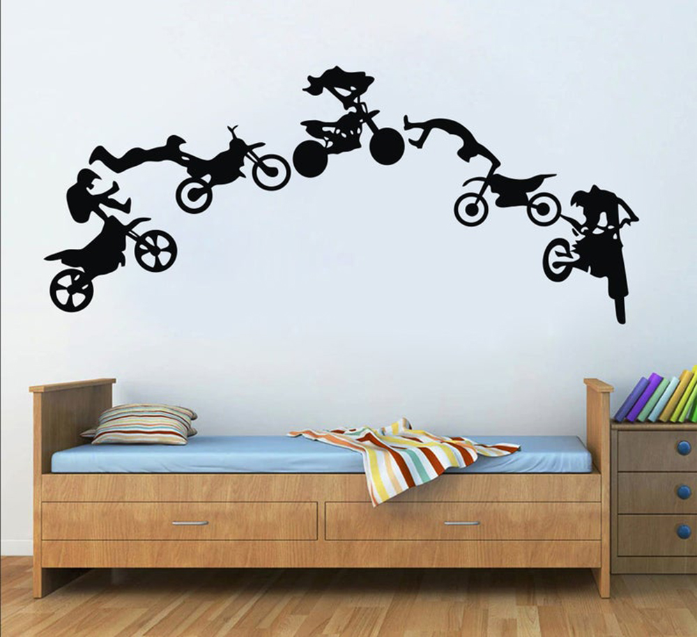 Велосипедная Наклейка на стену, наклейка на мотокросс, Фристайл, внедорожный велосипед, для спальни, спорта, мотоцикла, декор для комнаты по...