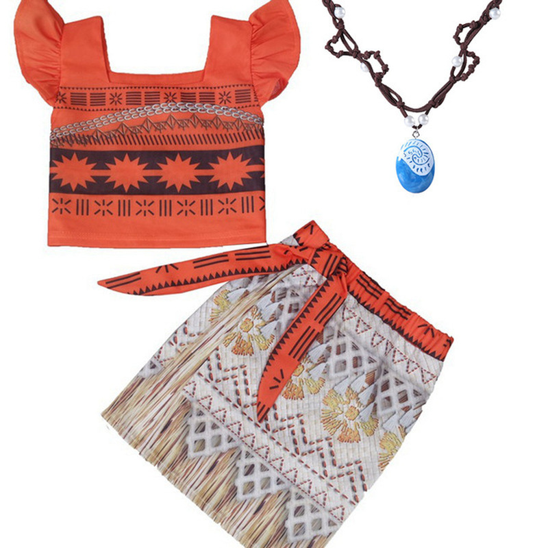 Kids Princess Moana Cosplay Costume Girls Gifts Halloween Birthday Party Dress Set Girl Vaiana Dress Necklace Cosplay Costumes