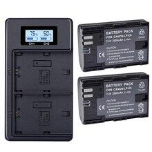 2х Lp-E6 батарея E6N 2000 мАч+ ЖК двойное зарядное устройство для камеры Canon 5Ds R 5D Mark Ii 5D Mark Iii 6D 7D 80D 5Ds R