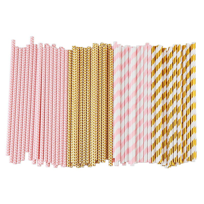 Biodegradable Paper Straws, 100 Pink For Party Supplies, Birthday, Wedding, Bridal/Baby Shower Decorations And Holiday Celebrati