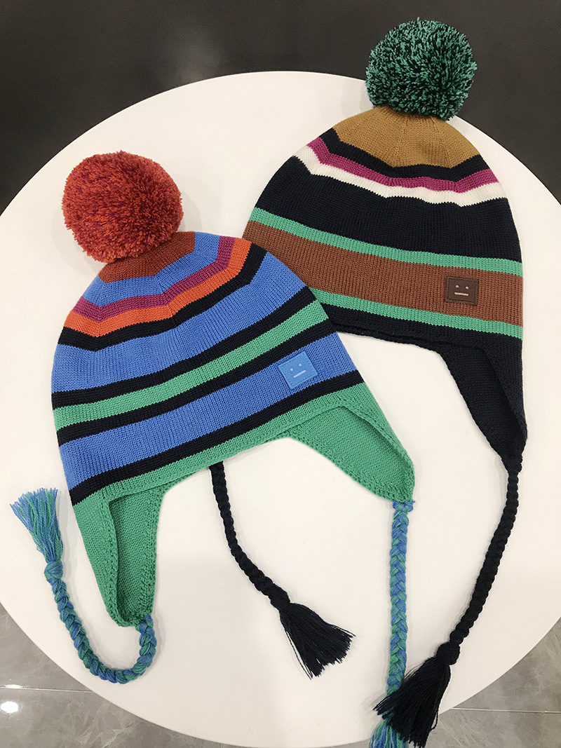 AC autumn winter new outdoor sports style big hair ball embellishment stripe face protection smiling face wool cap winter hats