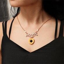 ECODAY Fashion Sunflower Pendant Necklace Women Gold Color Chain Long Bijoux Femme Ketting Pearl Jewelry Naszyjnik