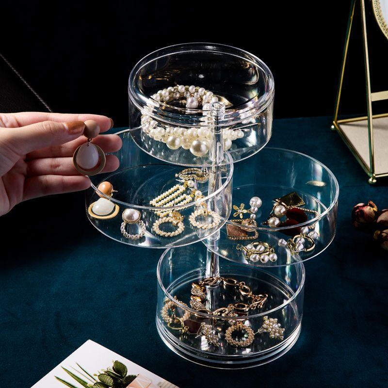 Rotating Jewelry Storage Box Makeup Organizer Transparent Bracelet Earrings Plastic Storage Box Display Rack Jewelry Dust-proof