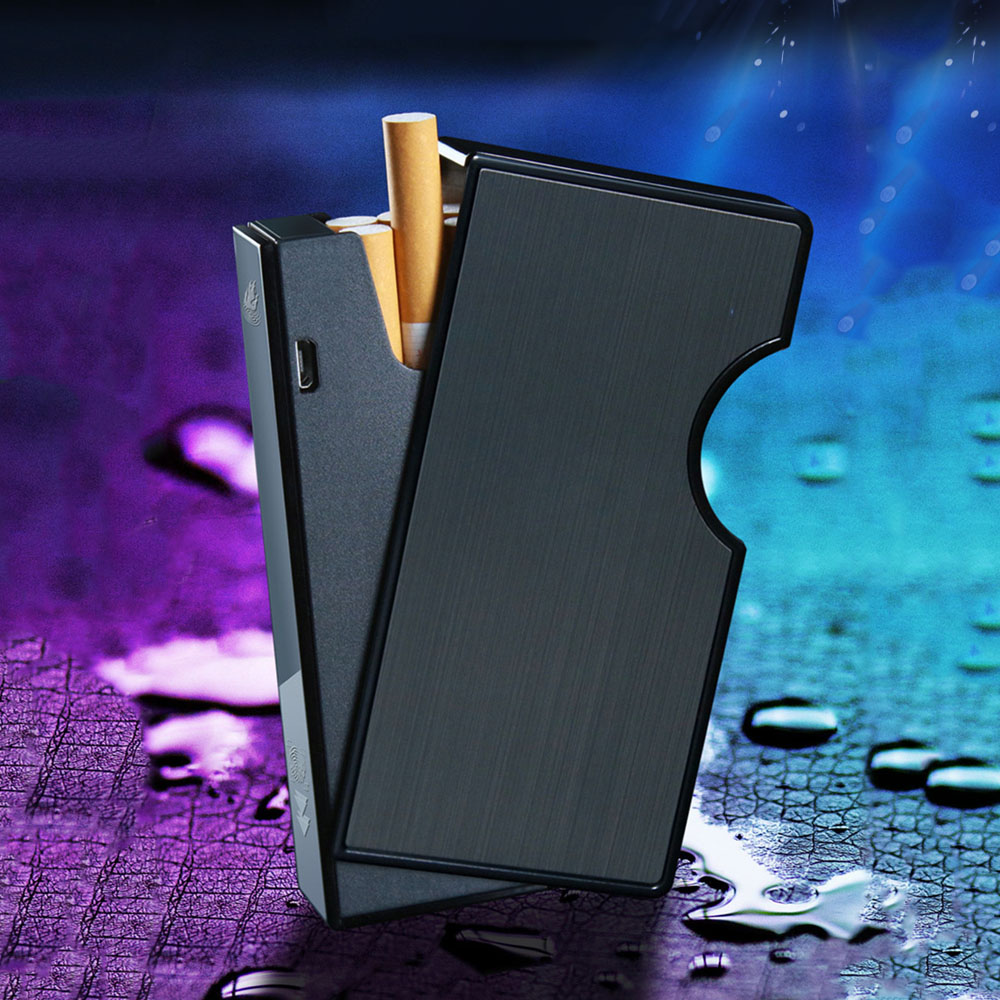 Universal Slim Cigarette Case Box with USB Electronic Lighter Tobacco Storage Holder Rechargeable Windproof Plasma Arc Lighter