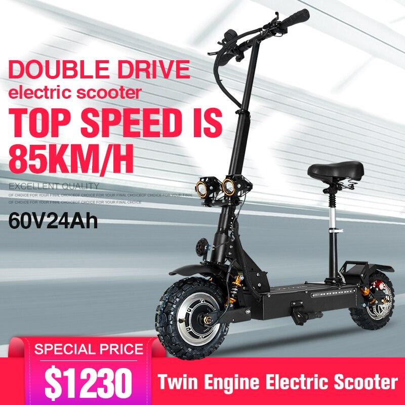 Scooter électrique adulte 11 pouces 60 V/3200 wtr pneu tout-terrain pliant scooter électrique double moteur moto électrique forte