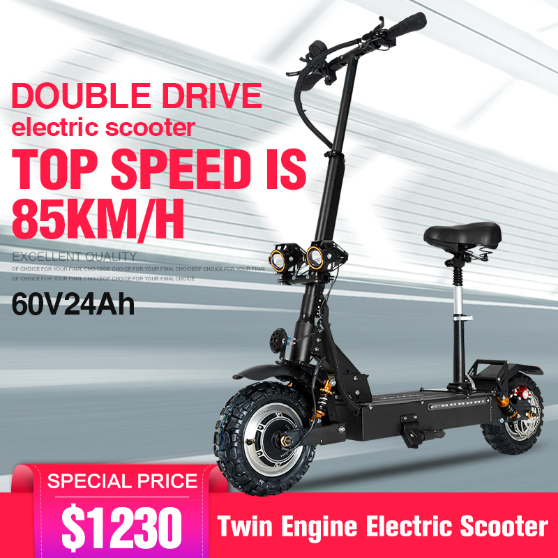 Scooter Eléctrico adulto 11 pulgadas 60 V/3200 WGST neumático todoterreno plegable scooter Eléctrico doble motor motocicleta eléctrica fuerte