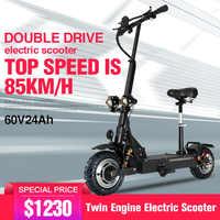 Scooter elétrico adulto 11 polegada 60 v/3200 pneu fora de estrada wgst dobrável scooter elétrico motor duplo motocicleta elétrica forte