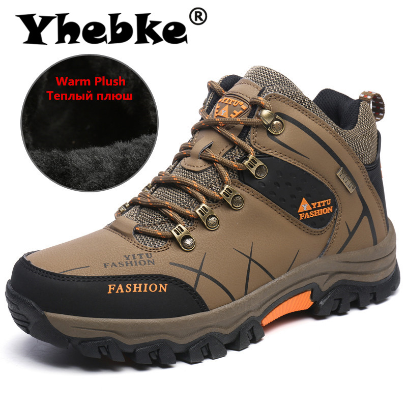 New Men Winter Snow Boots Super Warm Men's Boots High Quality Waterproof Sneakers Outdoor Male Hiking Boots Work Shoes Size 47 image