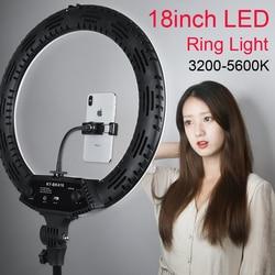 Photo Studio 18inch Ring Light Stepless adjusted 3200-5600K 65W 416 LEDs Selfie Video  Lighting with Tripod Phone Holder