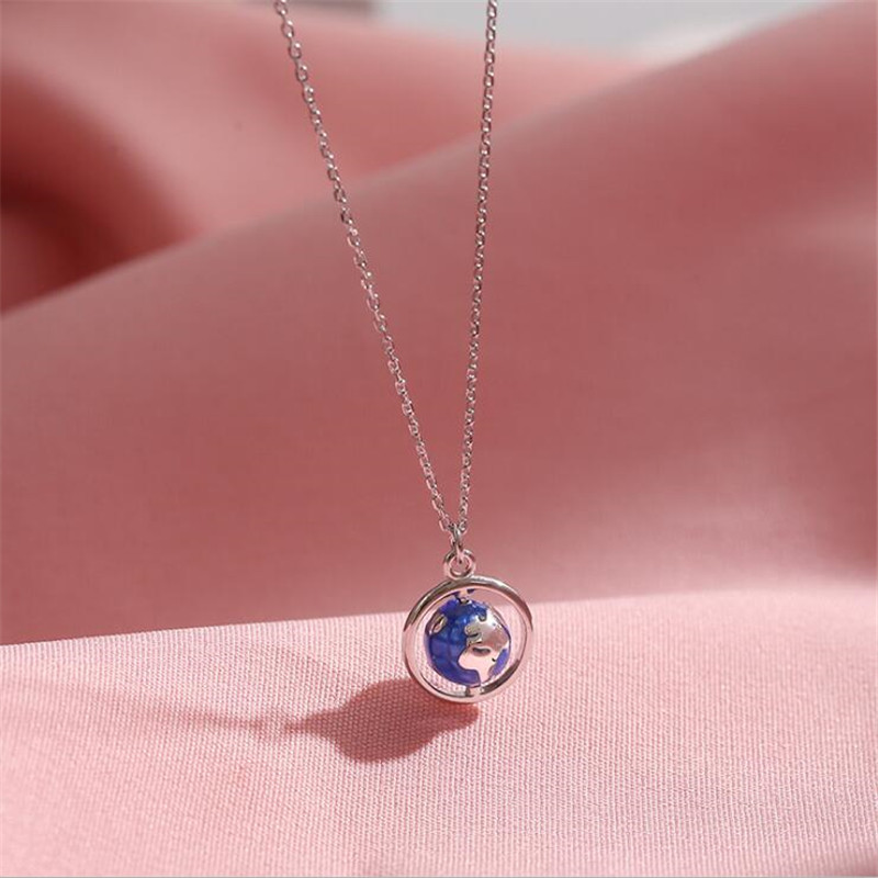 New Fashion Creative Globe Planet 925 Sterling Silver Jewelry Personality Colorful Epoxy Ball Popular Pendant Necklaces H572