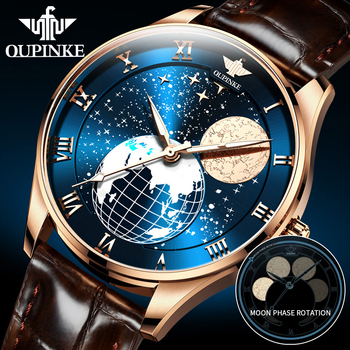 Men's Mechanical Moon Phase Wirstwatches OUPINKE Waterproof Top Brand Luxury Automatic Mens watches Sapphire Relogio Masculino relogio masculino sekaro moon phase mens watches top brand luxury gold men watch automatic mechanical leather wristwatches