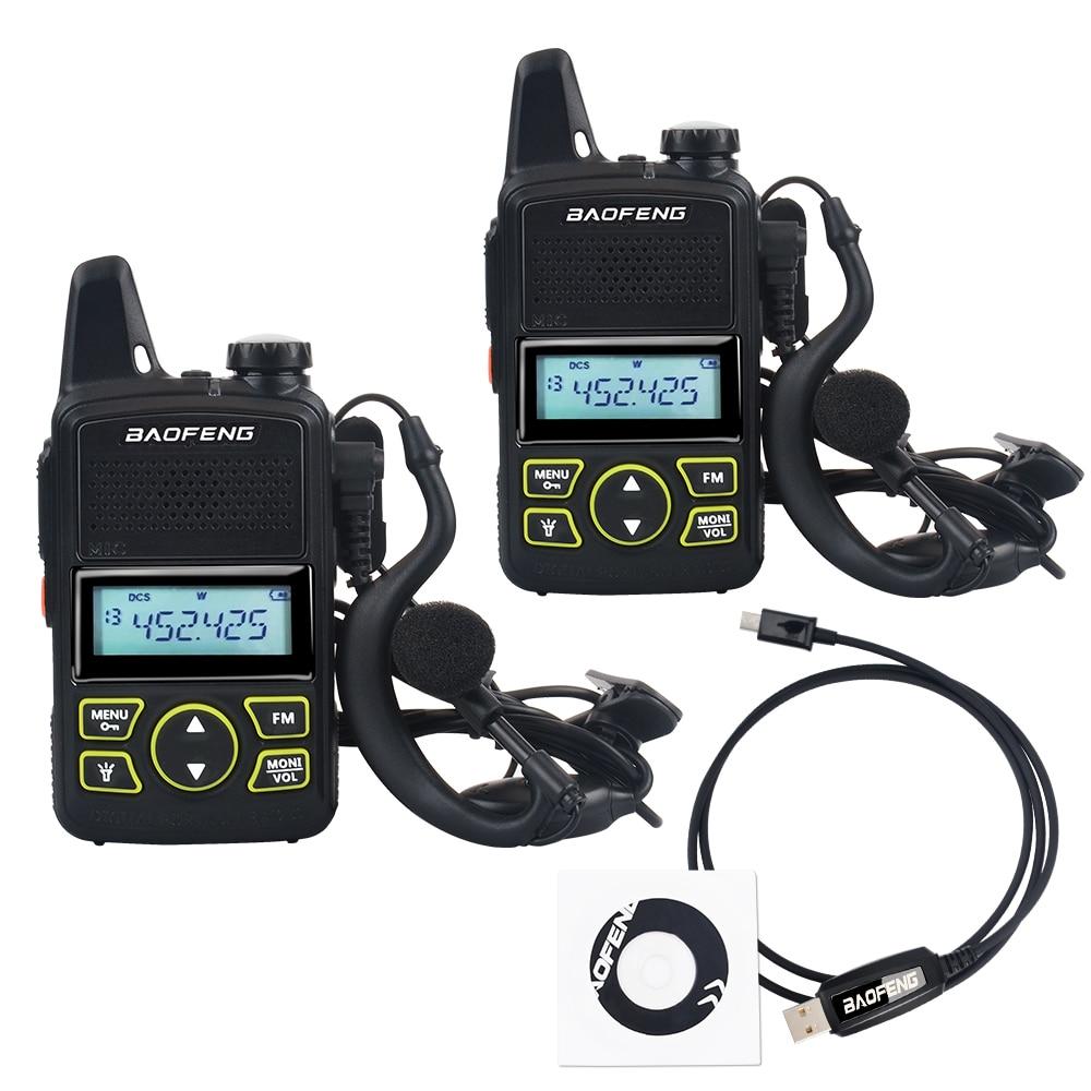 Портативная мини-рация baofeng, 2 шт., телефон, частота 400-470 МГц, 1 Вт, 20 каналов, двухсторонняя радиосвязь, с наушником и кабелем программирования