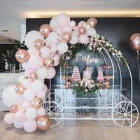 89 Uds. De globos de bautismo 4D para bebé niña, guirnalda de confeti de oro rosa, globos de látex, boda, fiesta nupcial, guirnalda de decoración
