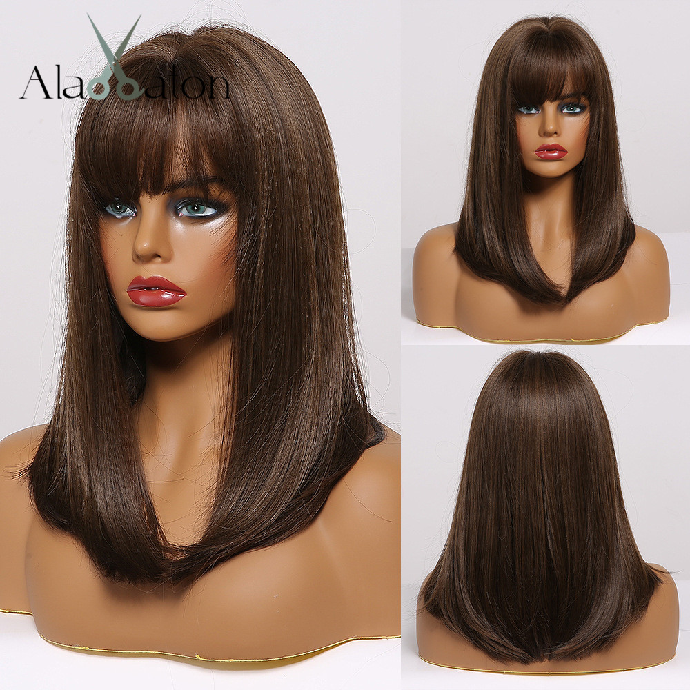 ALAN EATON Medium Bob Straight Hair Wig with Bangs Black Brown Synthetic Wigs with Highlights for Women African American Cosplay