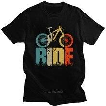 Retro passeio sua bicicleta de montanha t camisa dos homens mtb amante camiseta de manga curta impressão algodão t topo ciclistas e motociclistas presente harajuku