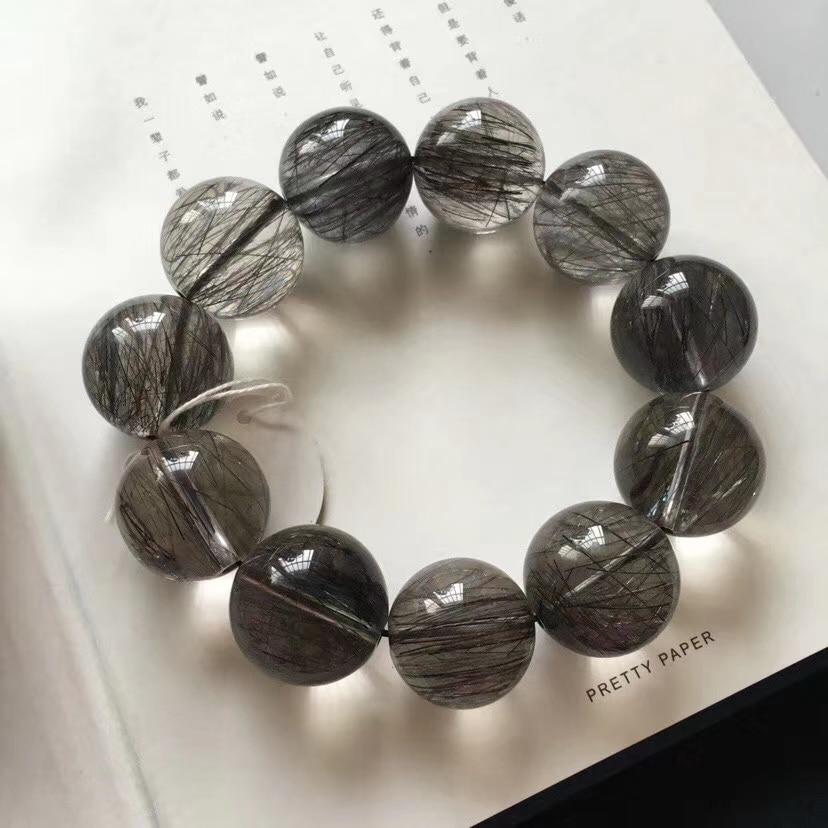 20mm Top Quality Natural Brazil Black Rutilated Quartz Crystal Man Clear Round Beads Bracelet Certificate AAAAAA