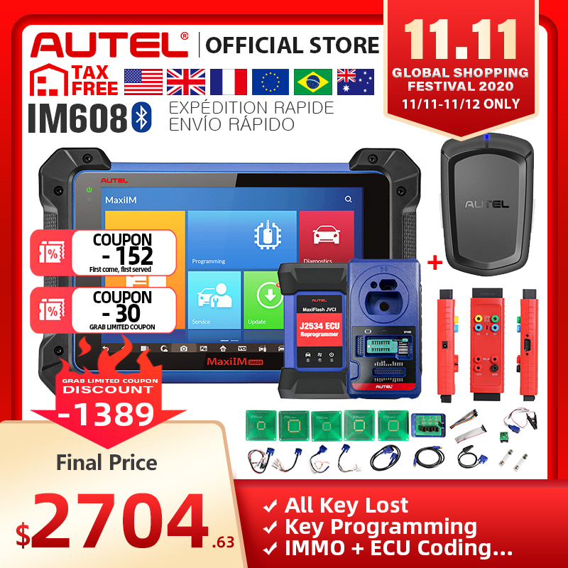 Autel IM608 MaxiIM 608 OBD2 Scanner OBDII Car Auto Diagnostic Tool OBD 2 All System Key Programming PK IM508 Key Programmer