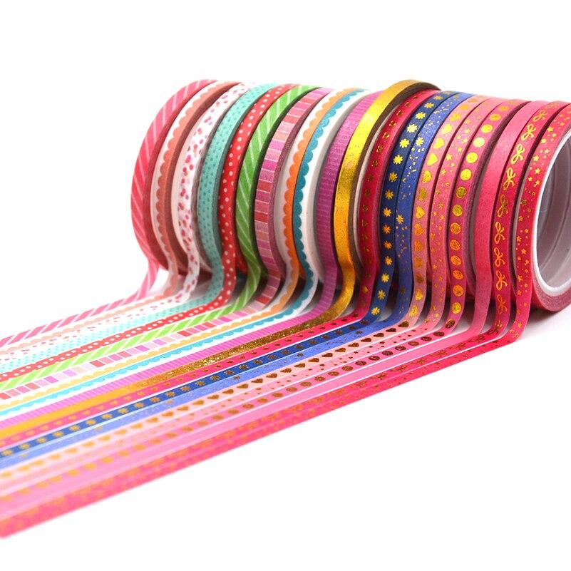 20Rolls/Set Foiling Slim Washi Masking Tape Set Foil Paper Masking Tapes Japanese Washi Tape Diy Scrapbooking Decoration Sticker