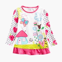 Girls long-sleeved T-shirt butterfly embroidered cotton new autumn girls children wearing shirt T-shirt F6198 embroidered pullover t shirt