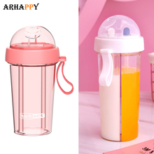 Creative Dual-use Straw Water Bottle Drinking Bottle for Gir