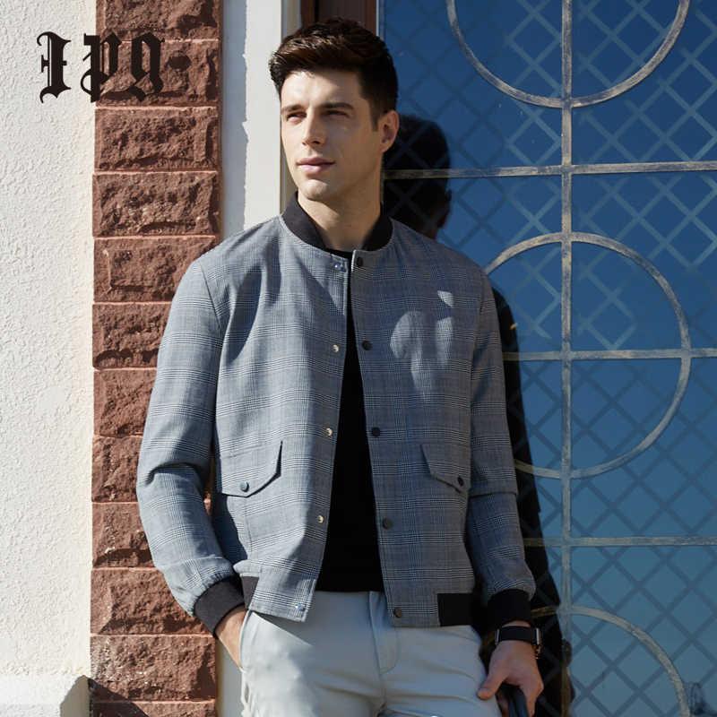 Ipg 2020 модная мужская осенняя куртка повседневная мужская классическая клетчатая куртка Бейсбольный воротник высокое качество Мужское пальто в британском стиле простое