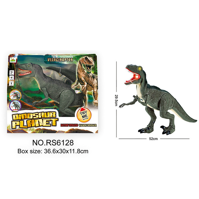 Jurassic Park RC Animals Velociraptor Robot Walk and Make Sounds and Lights Action Figures Big Size RC Dinosaur Animals Boys Toy