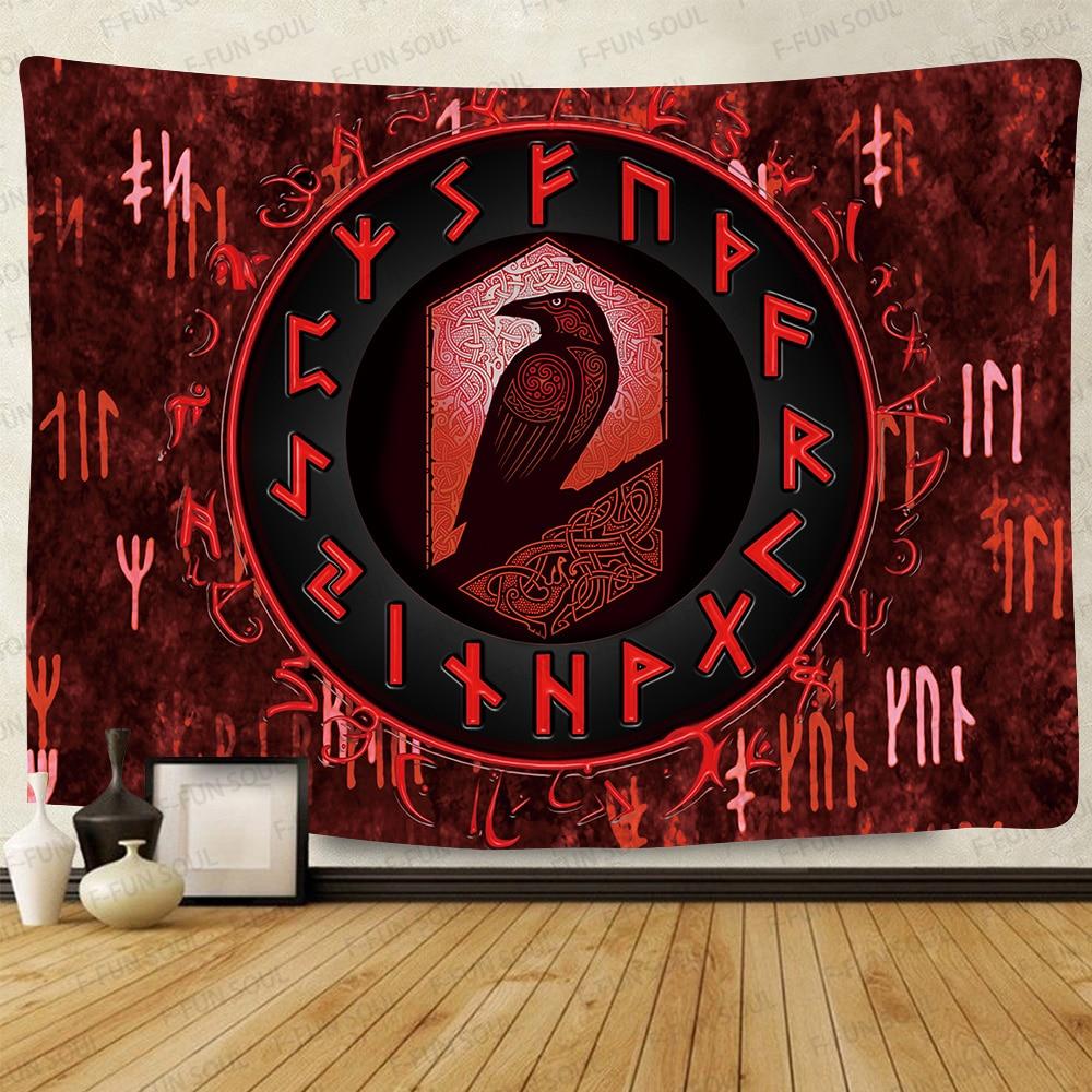 Сисант Ворон викингов таинственный гобелен викингов медитация психоделические руны искусство настенные подвесные гобелены для декора гос...