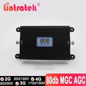 Повторитель сигнала Lintretek 2G 3G 4G, 850 1800 1700 1900 LTE 80 дБ, усилитель сигнала, двойной сигнал, мобильный телефон, усилитель для Interne