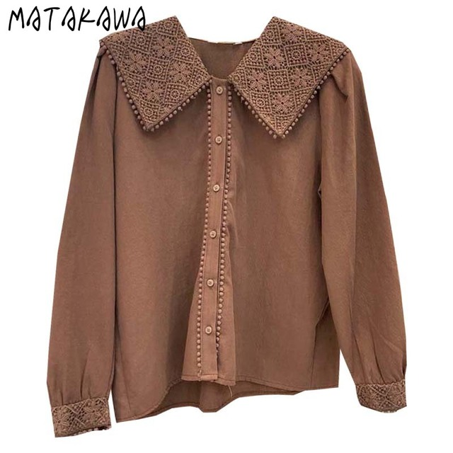 MATAKAWA Sweet Casual Blouse Women Top Korean Lace Hook Flower Blusas Turn-down Collar Long-sleeved Shirt Female 6