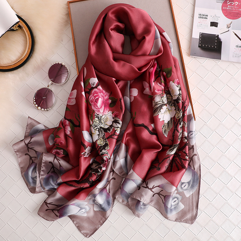 2020 Luxury Brand Scarves Printed Silk Feeling Female Beach Stole Bandana Wine Color Women Scarf Beach Shawl HIjabs