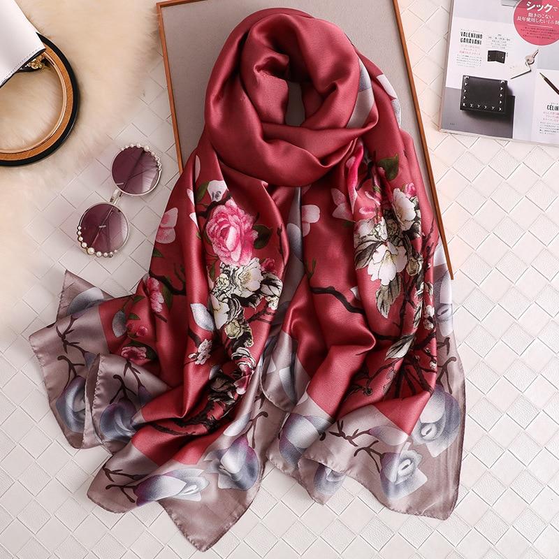 2020 Luxury Brand Scarves Printed Silk Feeling Female Beach Stole Bandana Wine Color Women Scarf Beach Shawl HIjabs