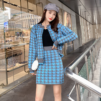 Houndstooth Thick Warm Sweater Cardigan Coat + Package Hip Pencil Mini Skirt Suit 2019 Winter Office Lady Knitted 2 Piece Set