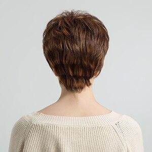 Image 3 - ALAN EATON krótki warstwowy czarny brązowy blond popiół szary peruki dla kobiet proste srebrne peruki syntetyczne żaroodporne fryzura Pixie Lady