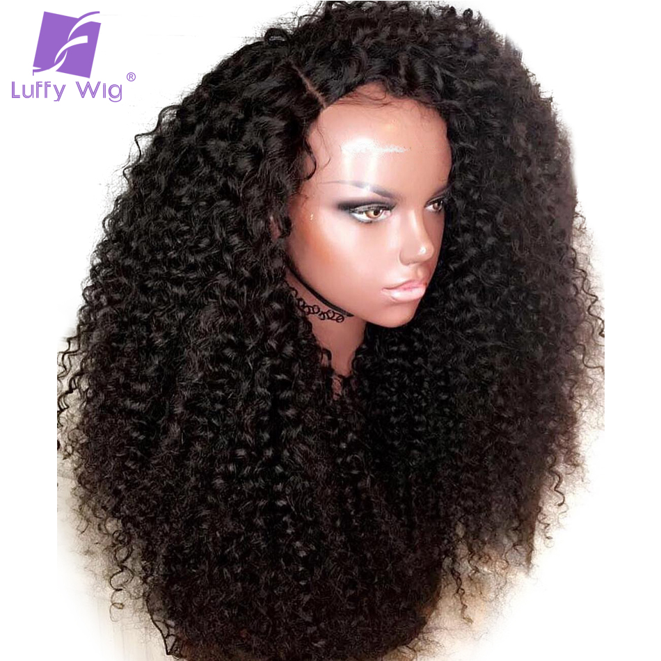 Kinky Curly 13x6 <font><b>Lace</b></font> <font><b>Front</b></font> <font><b>Human</b></font> <font><b>Hair</b></font> <font><b>Wigs</b></font> <font><b>180</b></font> <font><b>Density</b></font> Remy Brazilian <font><b>Hair</b></font> Glueless With Baby <font><b>Hair</b></font> Preplucked For Women LUFFY image