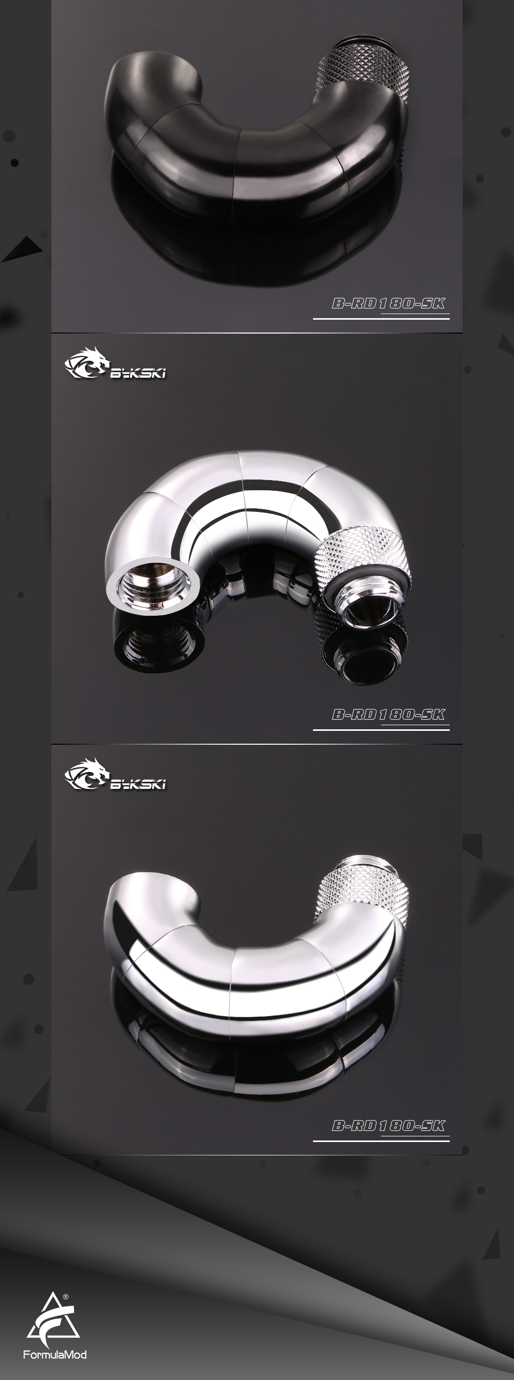 Bykski B-RD180-SK, 180 Degree Zigzag Rotatable Fittings, Four-stage Male To Female Rotatable Fittings