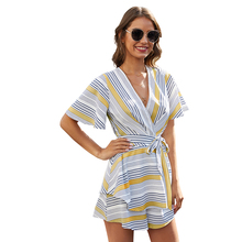 2020 hot style American women's stripe color contrast jumpsuit sexy back and waist panties women summe contrast stripe knot tee