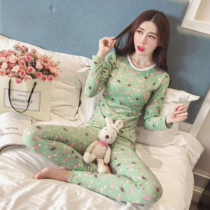 Women Pajamas Sets Sexy Slim Warm Long Johns Ladies Cartoon Underwears Set Bottoming Female Tunic Winter Print Thermal Underwear